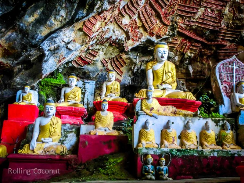 Hpa An Caves with Buddha Statues and buddha carvings Myanmar ooaworld Rolling Coconut Photo Ooaworld