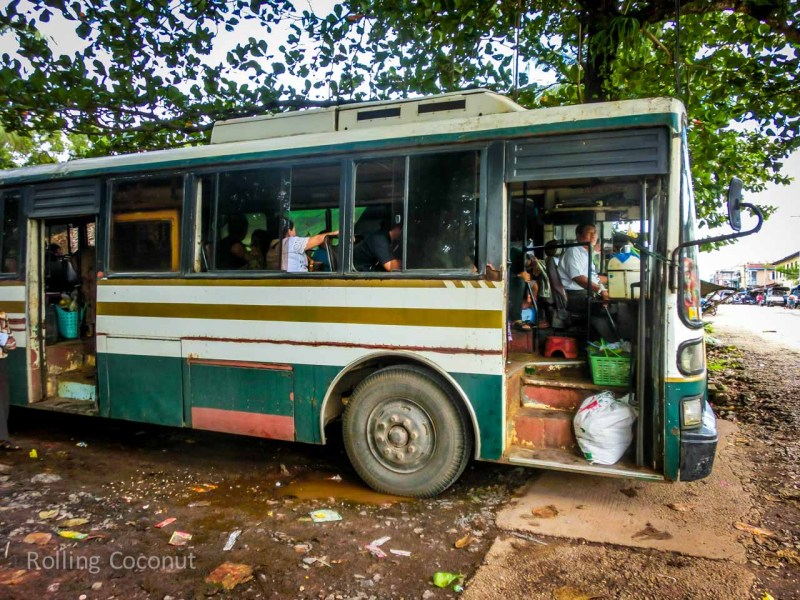 Bus from Mawlamyine to Hpa An Myanmar ooaworld Rolling Coconut Photo Ooaworld