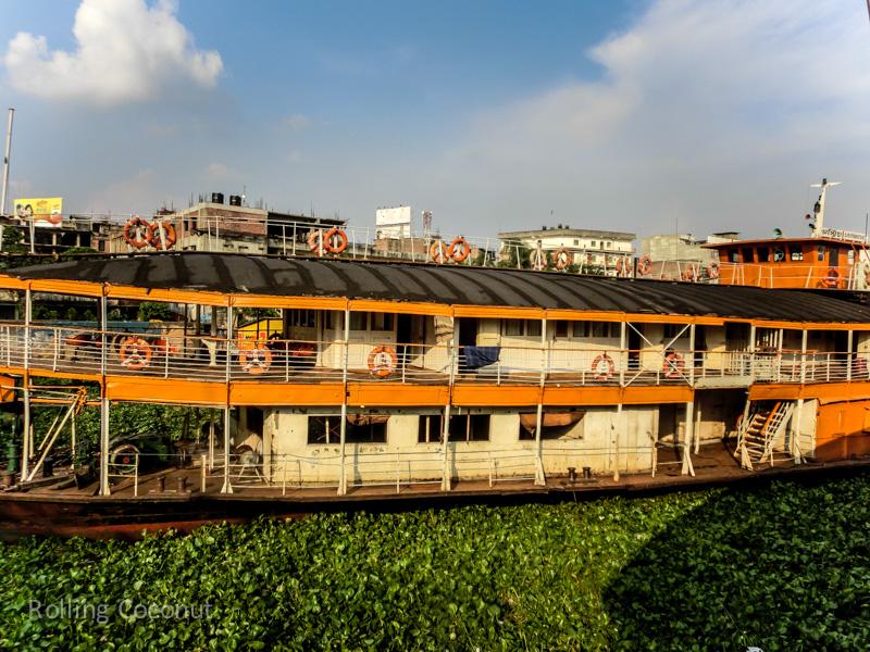 Bangladesh Dhaka Buriganga River Rocket Steamer ooaworld Rolling Coconut Photo Ooaworld