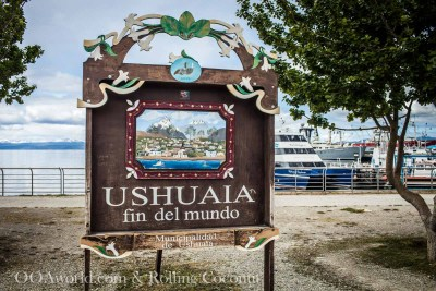 Ushuaia Argentina Fin Del Mundo Sign ooaworld Rolling Coconut Photo Ooaworld