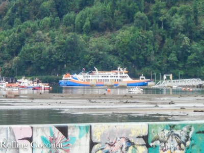 Chile Puerto Cisnes Naviera Austral Boat Rolling Coconut OOAworld Photo Ooaworld