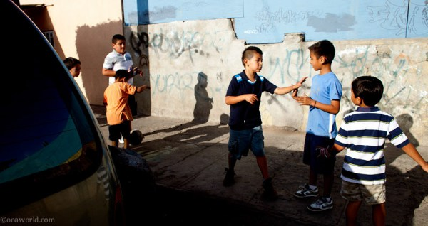 Children playing soccer / football, Tijuana