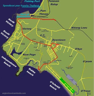 Map of Sihanoukville Beaches
