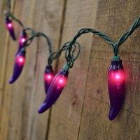 Purple Chili Pepper String Lights - 35 Lights