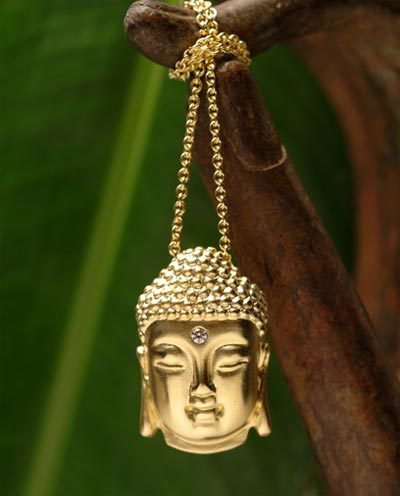 Buddha pendants available in 18k gold or sterling silver with or without a stone in the third eye the above pendant has a white diamond below are yellow teal blue and mozeypictures Images