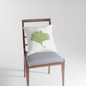 gingko leaf throw pillow open art media