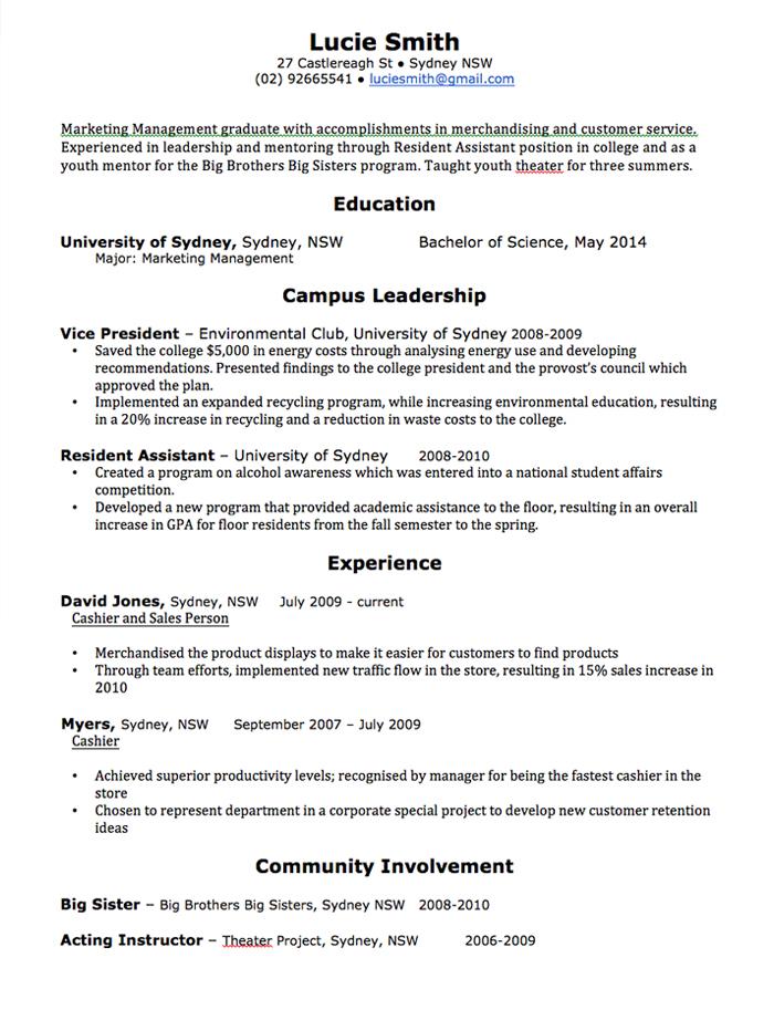 resume examples 2018 australia