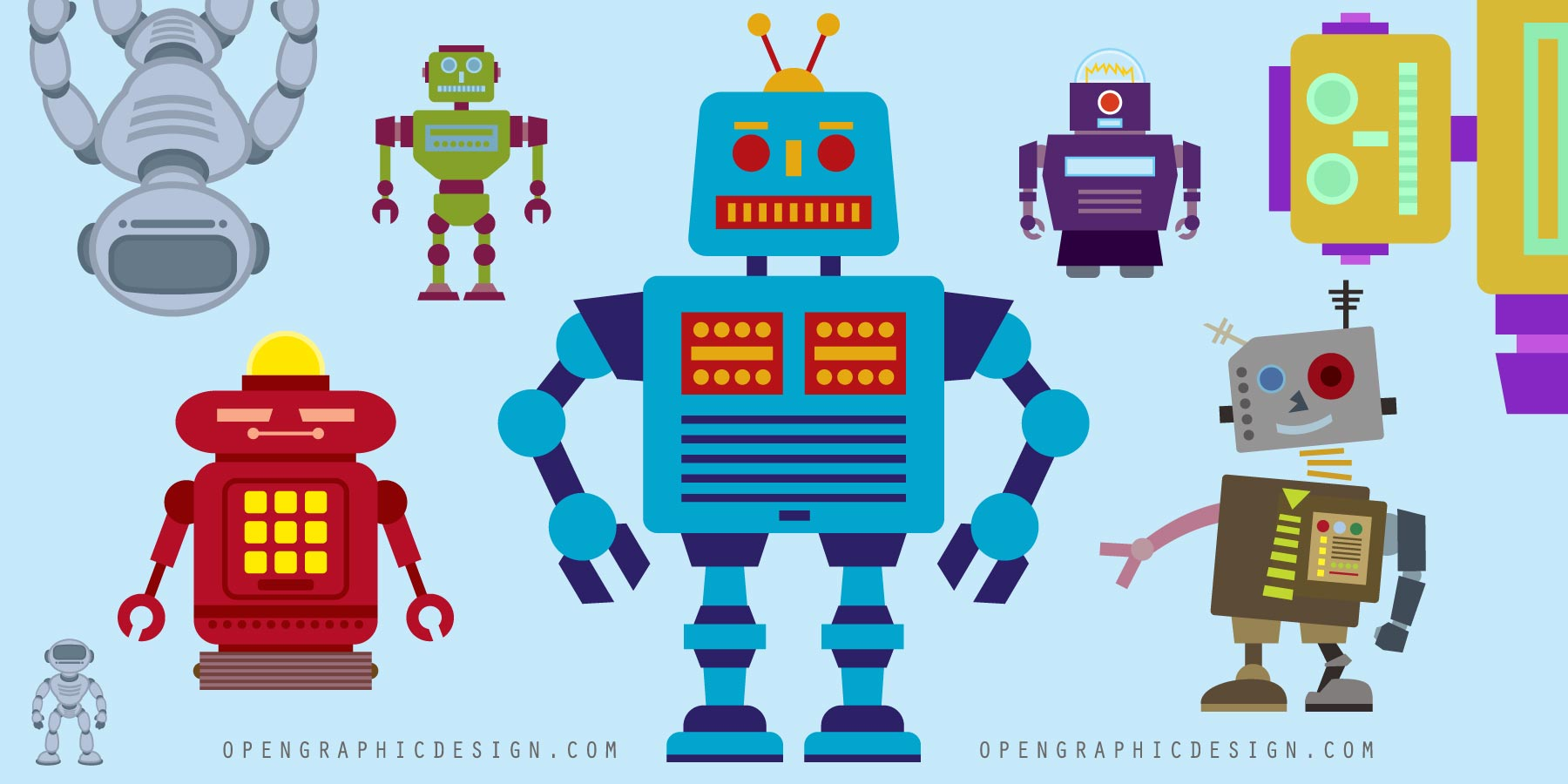 New Simple Girl Wallpaper Free Retro Robot Toys In Scalable Vector Art