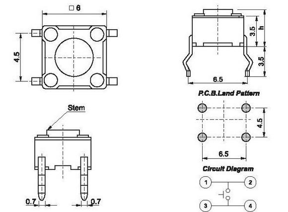 100pcs Push Button (6x6x6 mm) Open ImpulseOpen Impulse