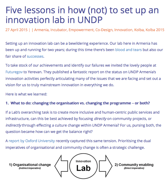 Lessons in how not to set up an innovation lab