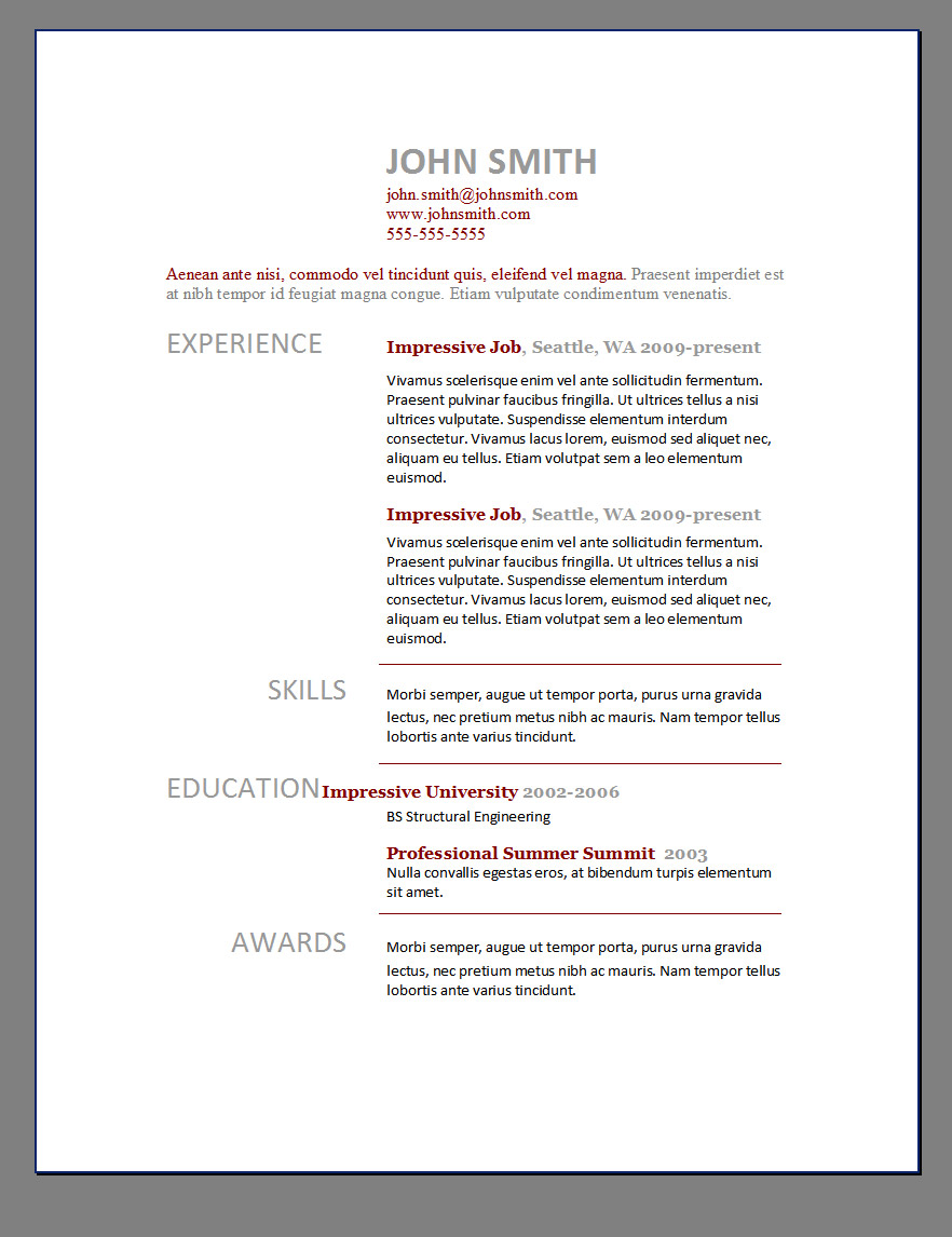 Free Resume Templates In Word Resume Templates Layouts Word Resumes