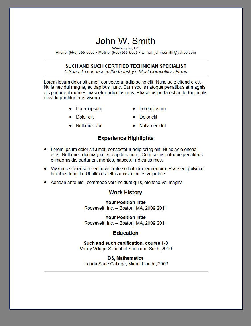 Resume Free Templates Microsoft Word Download 275 Free Resume Templates For Microsoft Word Primer's 6 Free Resume Templates ← Open Resume Templates