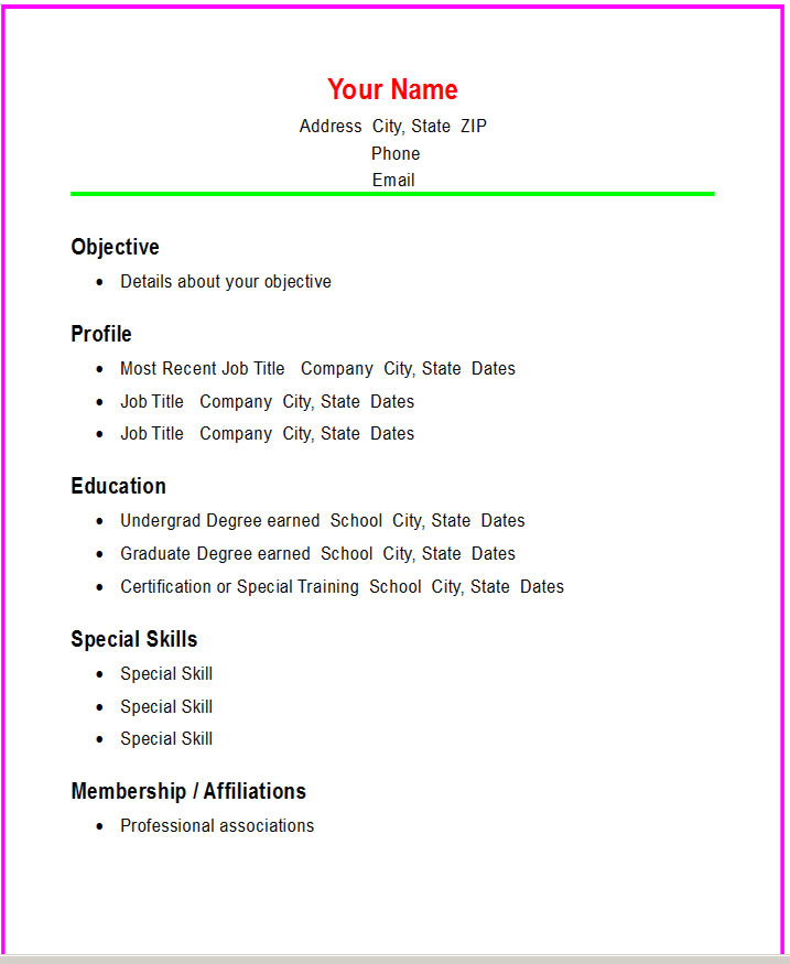 Basic Resume Template 51 Free Samples Examples Format Resume – Basic Resume Templates