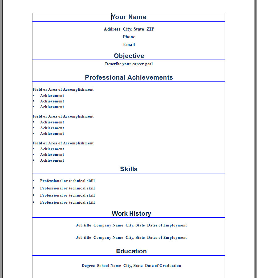 resume templates word - resume samples ms word