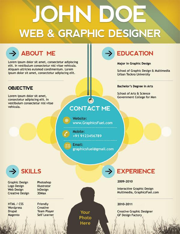 Creative resume / CV PSD template ← Open Resume Templates