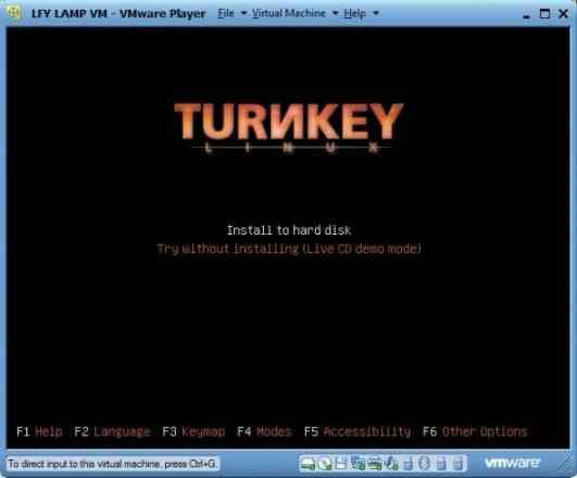 Install to hard disk –- LAMP Stack Boot splash