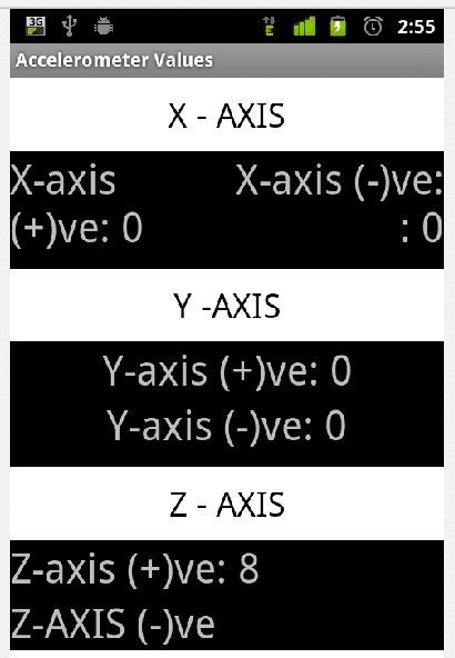 Values of the X, Y and Z axis when the phone was on the table