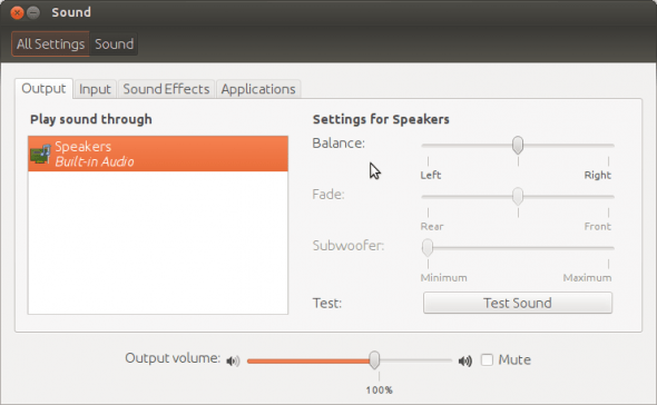 The new volume/sound preferences panel