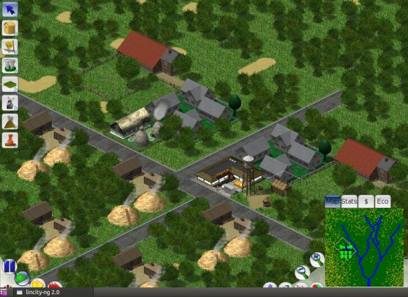 A screenshot of the LinCity gameplay