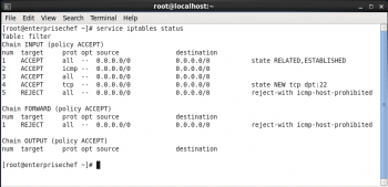 Figure 5 iptables status
