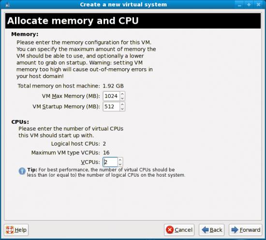 Figure 7: Allocate memory and CPU