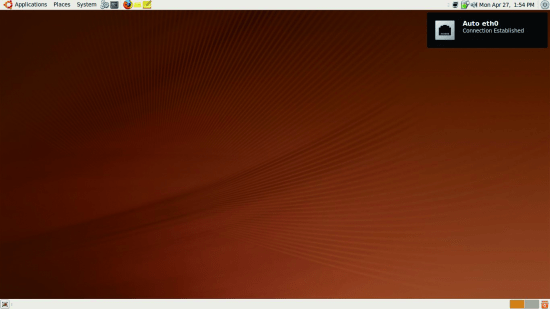 The default desktop with a glimpse of the new notification system