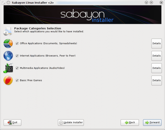 Figure 3: Package categories in Sabayon installer