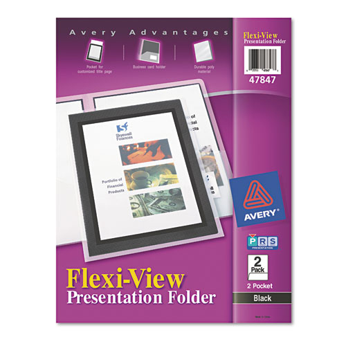 AVE47847 AVERY; Black; Cover; Flexi-View; Folder; Pocket; Pocket - presentation cover with window