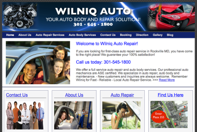 wilniq auto website image