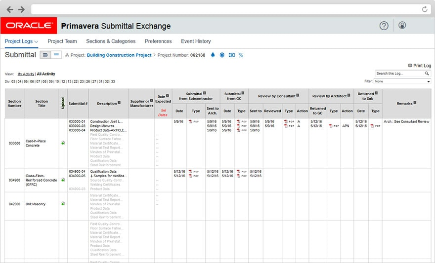 Primavera Submittal Exchange - Construction Document Management Oracle