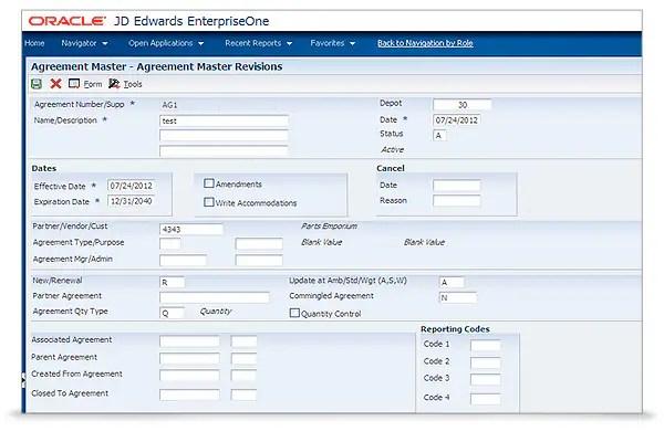 JD Edwards Agreement Management Oracle - management agreement