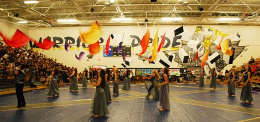 "Legends performed their show at the spring pep rally,  to Florence + Machine ""Shake It Out""."