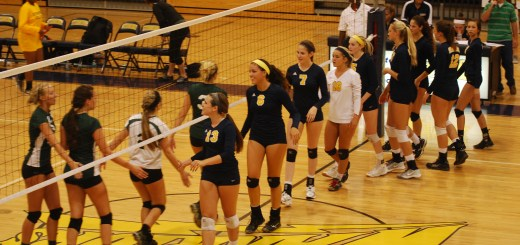 Both Sickles and Steinbrenner shake hands at the end of the match. Steinbrenner won all three sets bringing home a big district win.