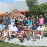 Marine Biology instructor, Charles Rocca gathers with students for some lunch at Frenchy's seafood restaurant. The class spent the earlier half of the day kayaking and exploring Caladisi Island.