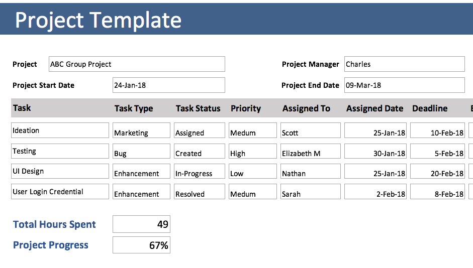 project hours tracking template
