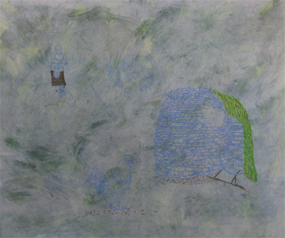 """Malt Kiln,"" acrylic, gouache, mixed media on paper, 2012"