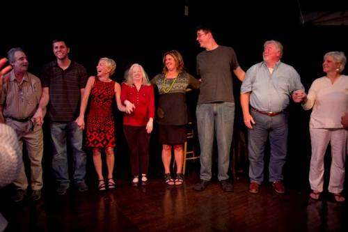 Urban Tellers: a happy curtain call. Photo: Mike Bodine