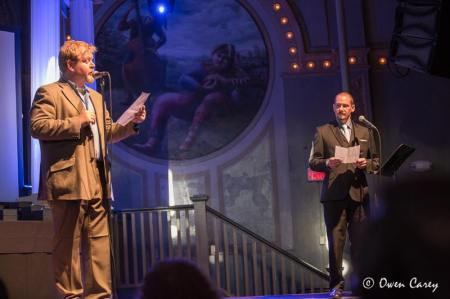 Van Voris (left) and Hoffman indulge in some interpretive oratory. Photo: Owen Carey
