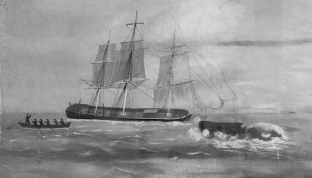 """Wreck of the Essex. Detail of """"Whaling Voyage Round the World,"""" ca.1848, a panorama by Benjamin Russell and Caleb P. Purrington. Wikimedia Commons"""