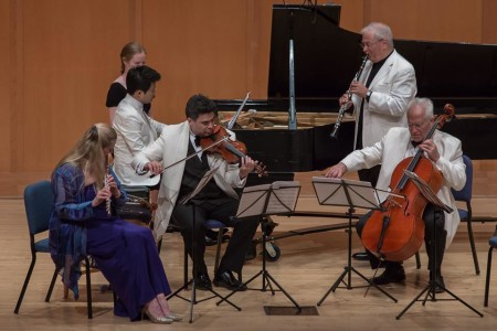 "Tara Helen O'Connor, Yekwon Sunwoo, Kenji-Bunch, David Shifrin and Fred Sherry premiered Bunch's ""Ralph's Old Records"" at Chamber Music Northwest. Photo: Tom-Emerson."