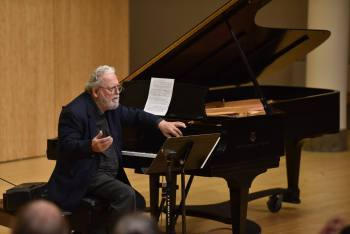 """- Peter Schickele lectured on """"What's so Funny About Music?"""" in Lincoln Recital Hall. Photo: Jonathan Lange."""