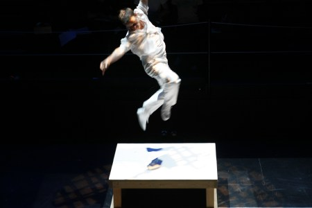 Mike Barber leaping into the very first Ten Tiny Dance. Photo by Jim Lykins.
