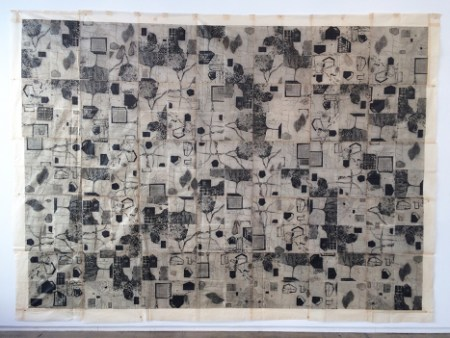 """Ritsuko Ozeki, """"Down-Up"""", 2014 Formatting Print etching, aquatint & collage,    98 x 137 in./Courtesy of Froelick Gallery"""