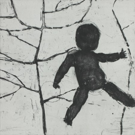 """Ritsuko Ozeki, """"A Doll"""", Print etching, aquatint    20 x 20 in./Courtesy Froelick Gallery"""