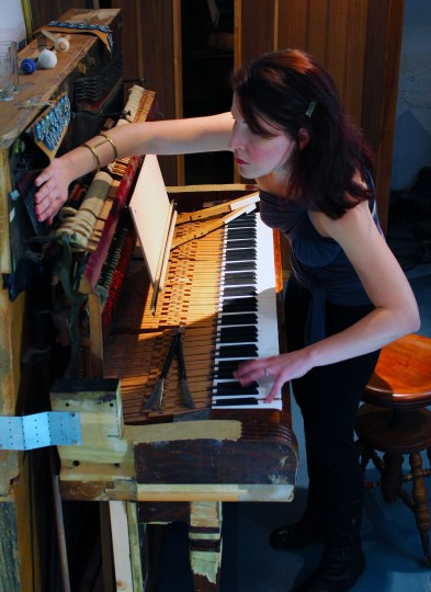 Jennnifer Wright plays her Skeleton Piano at BodyVox Studios this weekend.