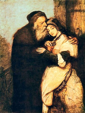 """Yiddish theater changed our view of Shylock. """"Shylock and Jessica,"""" Maurycy Gottlieb, oil on canvas, 166.5 × 109.5 cm"""