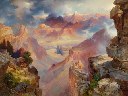 "Thomas Moran (American, born England, 1837–1926), ""Grand Canyon of Arizona at Sunset ,"" 1909. Oil on canvas, 30 × 40 inches. Courtesy of the Paul G. Allen Family Collection."