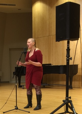 Bonnie Miksch, performing here at Crazy Jane's fall concert, will also perform in a concert of her compositions by FearNoMusic in February.