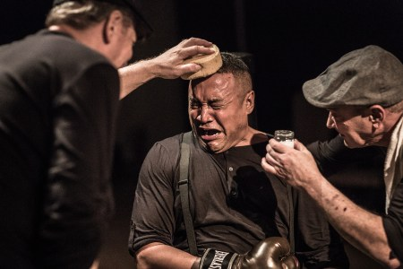 Pansy (Bobby Bermea) gets a breather between rounds after absorbing a beating. Photo: Owen Carey