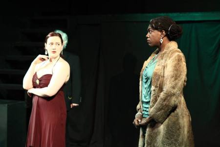The mean girls: Jessica Tidd as Regan, Ithica Tell as Goneril. Post5 Theatre photo
